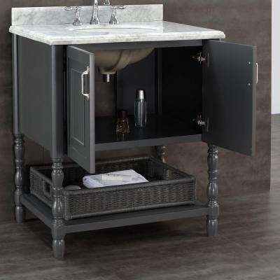 Karlie 30 in. W x 22 in. D Bath Vanity in Dark Charcoal with Natural Marble Vanity Top in White