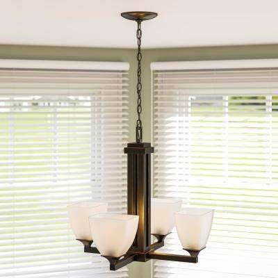 Mattock 4-Light Oil Rubbed Bronze Chandelier with Glass Shades
