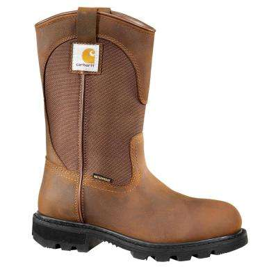 Traditional Women's Brown Leather/Brown Fabric Lug Bottom Waterproof Steel Safety Toe Work Boot