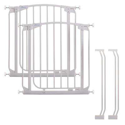Chelsea 29.5 in. H Auto Close Security Gate in White Value Pack with 2 Gates and 2 Extensions