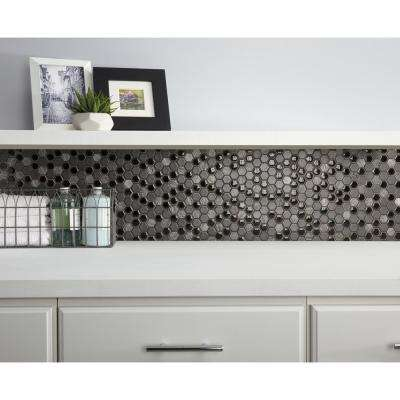 Eclectic Vintage Crackled Metal 12 in. x 12 in. x 8 mm Porcelain Mosaic Floor and Wall Tile (0.89 sq. ft. / piece)
