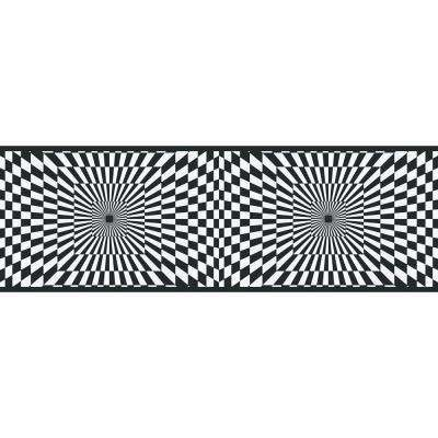 6.83 in. x 15 ft. Black and White Funky Optics Border