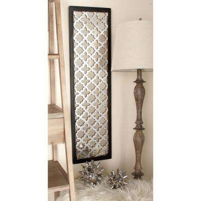 44 in. x 12 in. Modern Decorative Lattice-Patterned Wood, Mirror and Iron Wall Panel in Silver and Gold Foil (2-Pack)