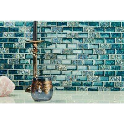 Marina Iridescent Aqua Brick 11 3/4 in. x 11 3/4 in. 8 mm Glass Mesh-Mounted Mosaic Tile
