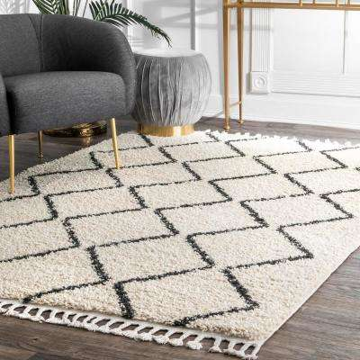 Michelle Diamond Trellis Shag Off White 5 ft. x 8 ft.  Area Rug