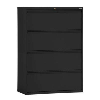 800 Series 30 in. W 4-Drawer Full Pull Lateral File Cabinet in Black