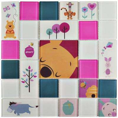 Pooh and Friends Pink 11-3/4 in. x 11-3/4 in. x 5 mm Glass Mosaic Tile