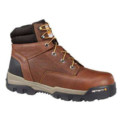 Ground Force Men's Brown Leather NWP Composite Safety Toe Lace-up Work Boot