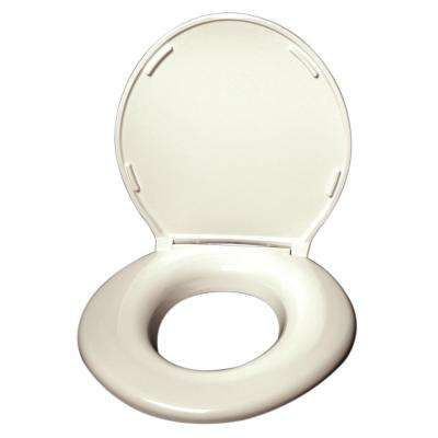 Elongated Closed Front Toilet Seat with Cover in Cream