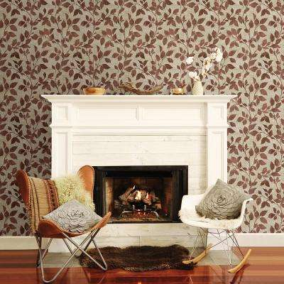 56.4 sq. ft. Gramercy Park Red Leaf Wallpaper