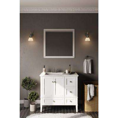 Chelsea 36 in. Bath Vanity in Soft White with Quartz Marble Vanity Top in White with Left Off Set White Basin