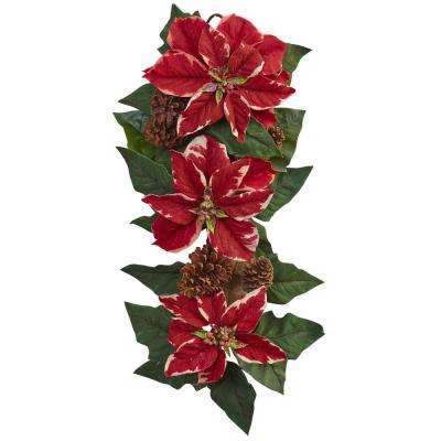25 in. Poinsettia, Pine Cone and Burlap Teardrop