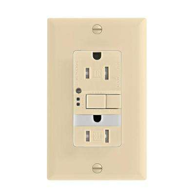 GFCI Self-Test 15A -125V Tamper Resistant Duplex Receptacle with Nightlight and Standard Size Wallplate, Ivory