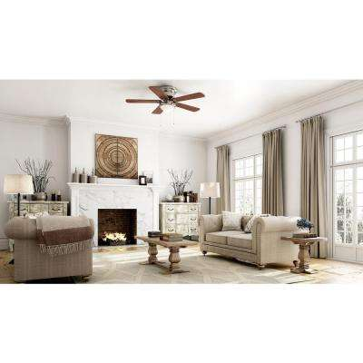Large room ceiling fans lighting the home depot led indoor brushed nickel ceiling fan with light kit aloadofball Images