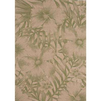Tropical Blossom Green 8 ft. x 10 ft. Indoor/Outdoor Area Rug
