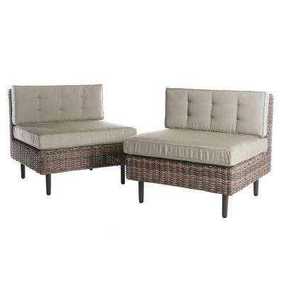 Aimee 2-Piece Wicker Patio Seating Set with Cast-Ash Cushions