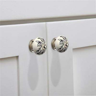 Designer 1-3/5 in. (41 mm) Black and White Cabinet Knob