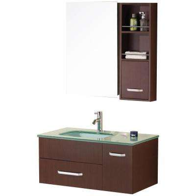 Christine 35 in. W x 20 in. D Vanity in Toffee with Glass Vanity Top and Mirror in Mint