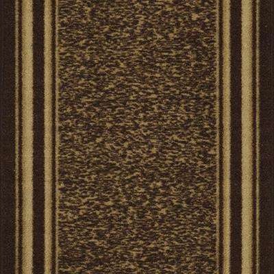 Ottohome Collection Contemporary Bordered Design Brown 2 ft. x 7 ft. Runner Rug