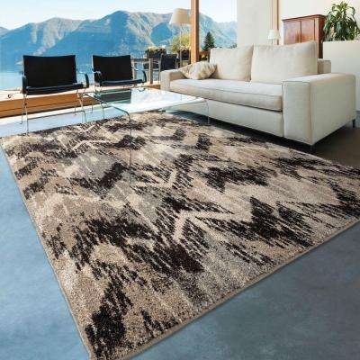 Twisted Sisters Gray 8 ft. x 11 ft. Plush Pile Chevron Indoor Area Rug