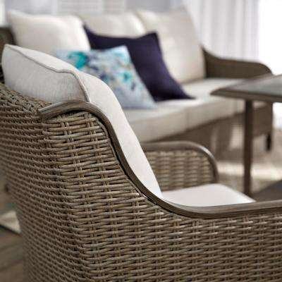 Windsor 6-Piece Brown Wicker Outdoor Patio Conversation Seating Set with CushionGuard Biscuit Tan Cushions