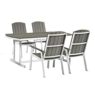 Coastal Grey/White 5-Piece Metal and Wood Outdoor Dining Set
