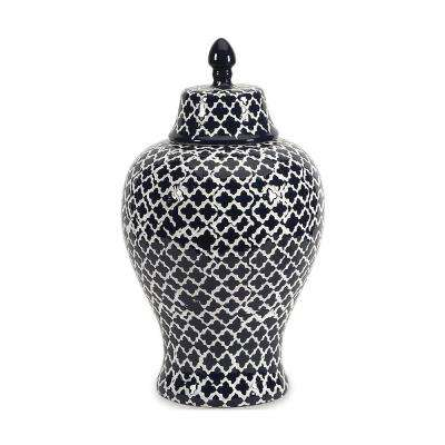 Layla 17.5 in. Black and White Ceramic Urn