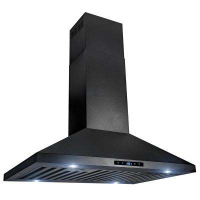 30 in. 470 CFM Kitchen Island Mount Range Hood in Black Stainless Steel with Touch Control
