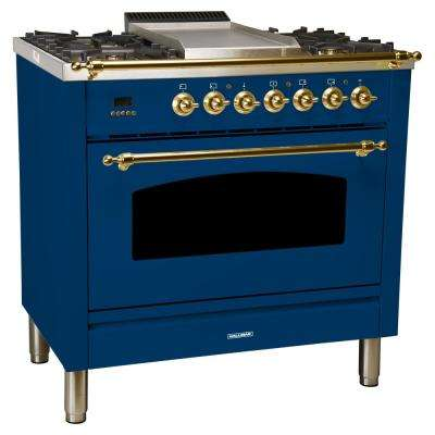 36 in. 3.55 cu. ft. Single Oven Dual Fuel Italian Range True Convection, 5 Burners, Griddle, LP Gas, Brass Trim in Blue