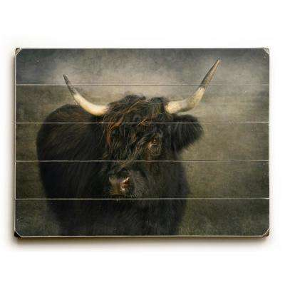 "18 in. x 24 in. ""Black Cow by Pauline Fowler ""Planked Wood"" Wall Art"
