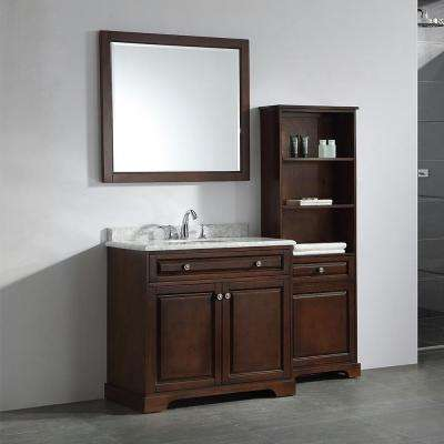 Highclere 36 in. W x 22 in. D Vanity in Cocoa with Carrera Marble Vanity Top in White with White Sink