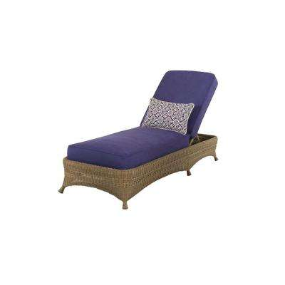Lily Bay Wicker Patio Chaise with Cobalt Cushions-DISCONTINUED