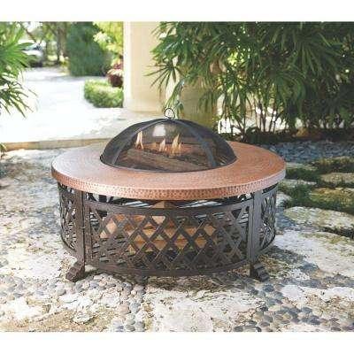 40 in. Lattice Fire Pit Table in Copper