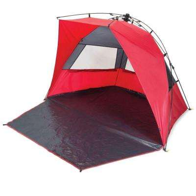 Haven Portable Sun and Wind Shelter in Red and Grey