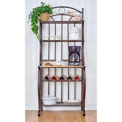 Copper Baker's Rack with Bamboo Counter and Wine Rack