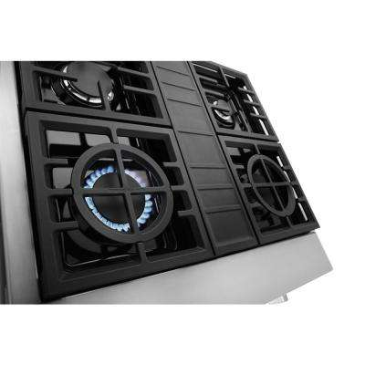 30 in. Gas Commercial Cooktop with 4-Burners in Stainless Steel