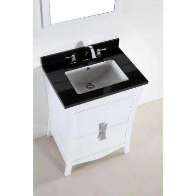 Tracy 24.5 in. W x 19 in. D x 34 in. H Single Vanity in White with Granite Vanity Top in Black Galaxy with White Basin