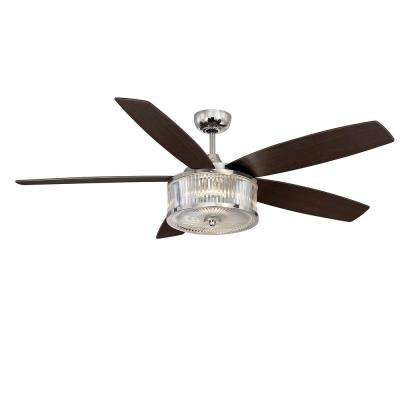 56 in. LED Indoor/Outdoor Polished Nickel Ceiling Fan
