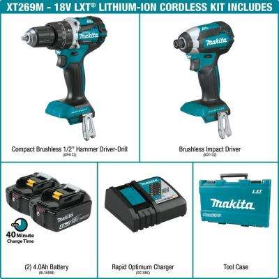 18-Volt LXT Lithium-Ion Brushless Cordless Hammer Drill and Impact Driver Combo Kit (2-Tool) w/ (2) 4Ah Batteries, Case