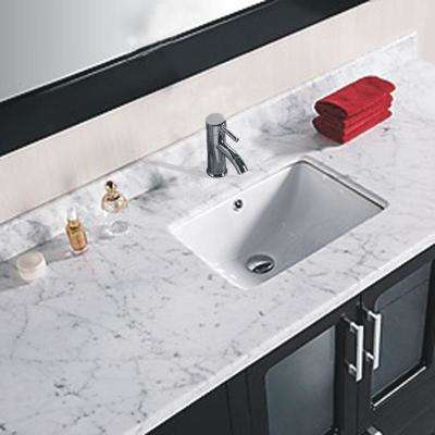 Stanton 60 in. W x 22 in. D Vanity and Mirror in Espresso with White Carrera Marble Vanity Top