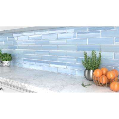 Big Blue 3 in. x 12 in. Glass Tile for kitchen Backsplash and Showers (10 sq. ft. / box)