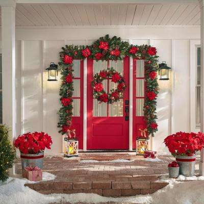 17 ft Berry Bliss Mixed Pine Christmas Garland with Poinsettia