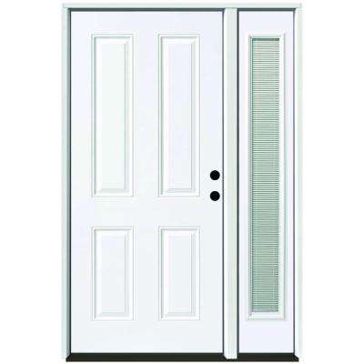 49 in. x 80 in. 4-Panel Primed White Left-Hand Steel Prehung Front Door with 10 in. Mini Blind Sidelite 4 in. Wall