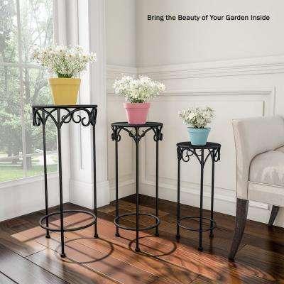 Black Metal Decorative Round Nesting Plant Stands (Set of 3)