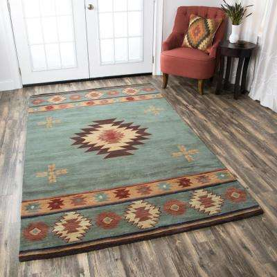 Southwest Blue Grey 9 ft. x 12 ft. Area Rug