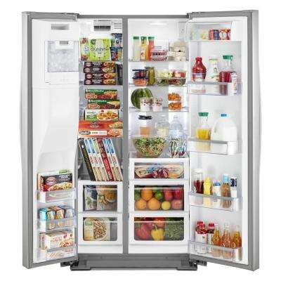 36 in. 19.8 cu. ft. Side by Side Refrigerator in Fingerprint Resistant Stainless Steel, Counter Depth