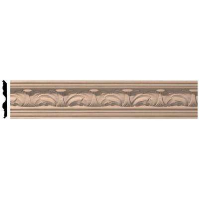 3-5/8 in. x 96 in. x 3-1/4 in. Unfinished Wood Maple Acanthus Leaf Carved Crown Moulding