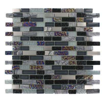 Seattle Skyline Blend Bricks 12 in. x 12 in. x 8 mm Marble and Glass Mosaic Floor and Wall Tile