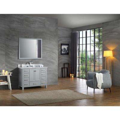 Cambridge 43 in. Vanity in Grey with Carrara Marble Vanity Top in White with White Basin and Mirror