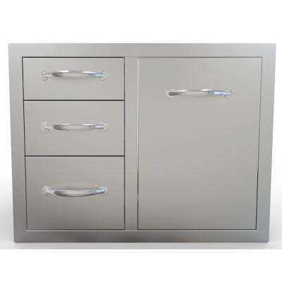 Classic Series 30 in. 304 Stainless Steel Flush Tank Tray Triple Drawer Combo